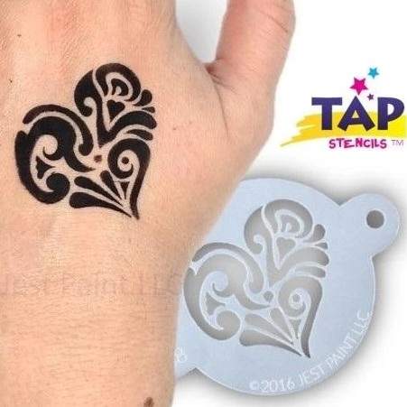 Tap Face Painting Stencil TAP068 Ornate Heart