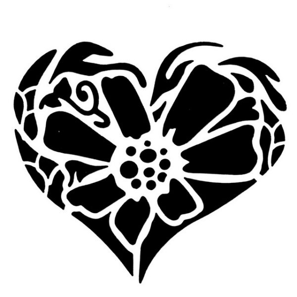 Tap Face Painting Stencil TAP074 Flower Heart