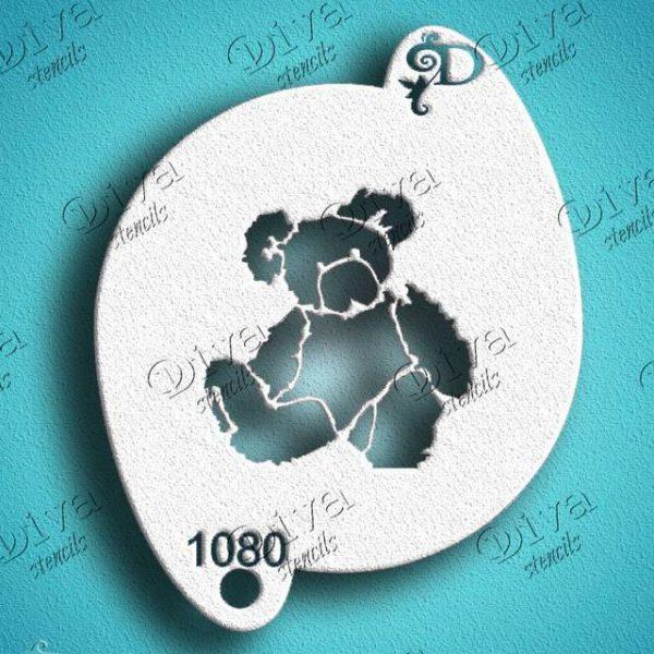 Diva Teddy bear Face Painting Stencil