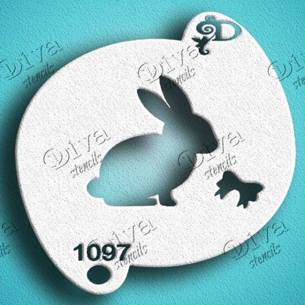 Diva Bunny with Bow Face Painting Stencil