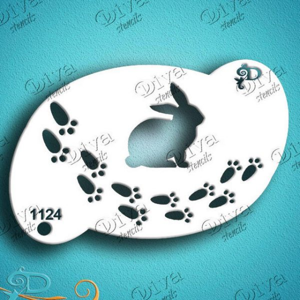 Diva Easter Bunny Trail Face Painting Stencil