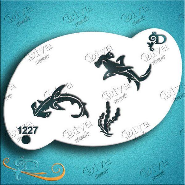 Diva Hammerhead Sharks Face Painting Stencil