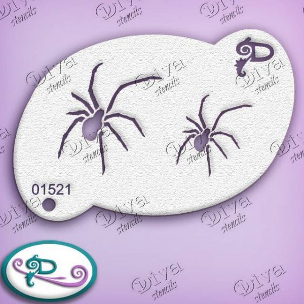 Diva Creepy Spiders Face Painting Stencil