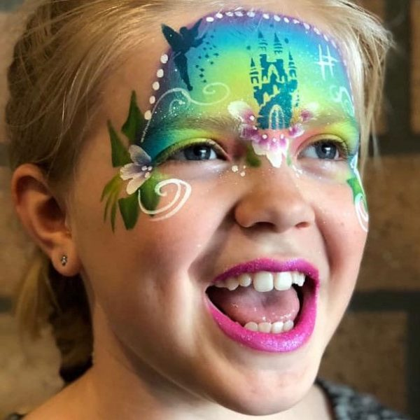 Fairy castle face painting design by Sandra Beckers using Diva stencil