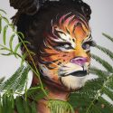 Tiger face painting with Mehron Paradise face and body paint