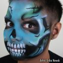 Skull face painting by Erika Nowak using SOBA Voodoo stencil