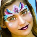 Gypsy Rose one-stroke face painting from Pretty Rainbow palette