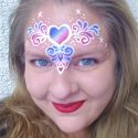 Heart face painting design by Mara Zegers