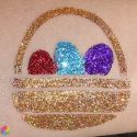 Easter Basket glitter tattoo in ABA Ocean Spray, TAG Red, ABA Grape Soda, TAG Dark Gold and TAG Holographic Dark Gold glitters