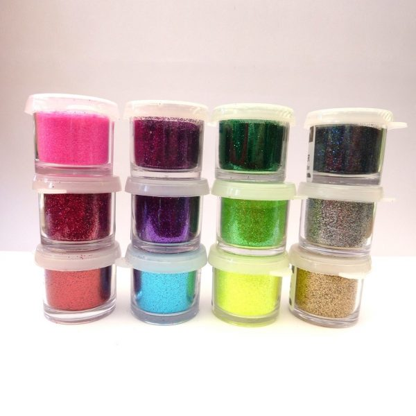 12 Colour Cosmetic Glitter Set with tray
