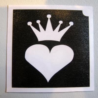 Glitter Tattoo Stencil - Heart Crown