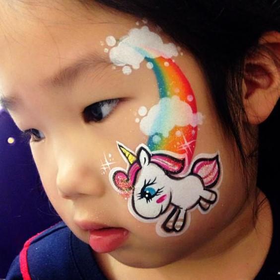 Diva Face Painting Stencil - Unicorn Baby