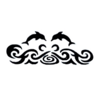 Glitter Tattoo Stencil - Dolphins and Tribal Waves