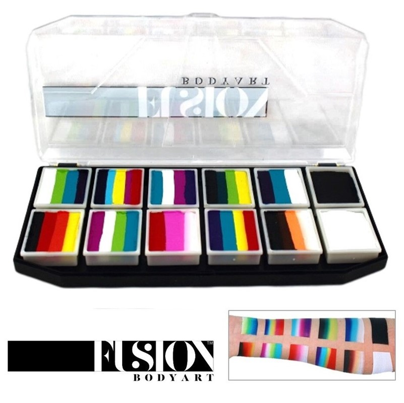 Fusion One-Stroke Palette (10x 1 inch split-cakes + black and white) - Rainbow Explosion Palette