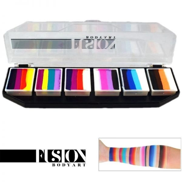 Fusion One-Stroke Palette (6x 1 inch split-cakes) - Rainbow Splash Palette