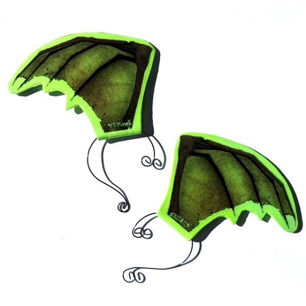 Green Bat-wing or Dragon-wing Ear-wings (1 pair)