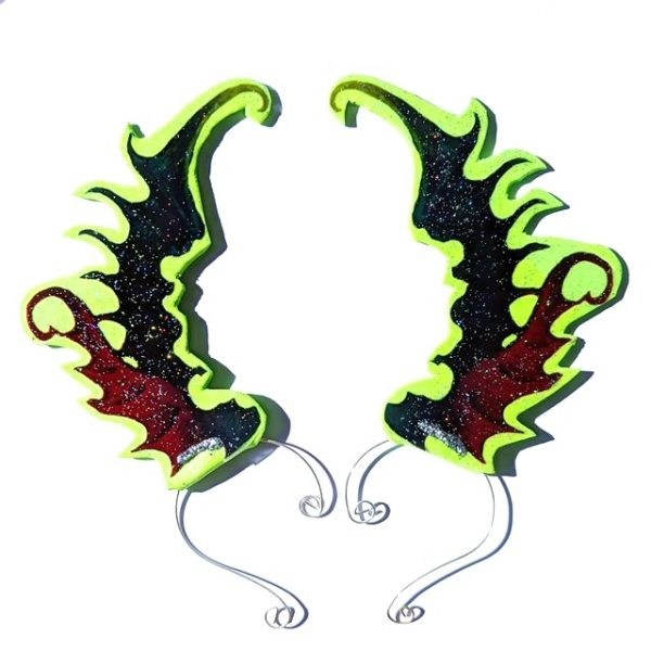 Green Dragon-wing Ear-wings (1 pair)