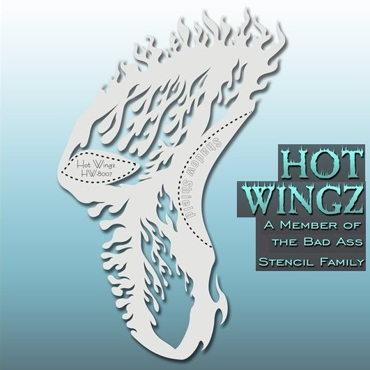 Bad Ass Hot Wingz Face Painting Stencil HW8007 Flaming