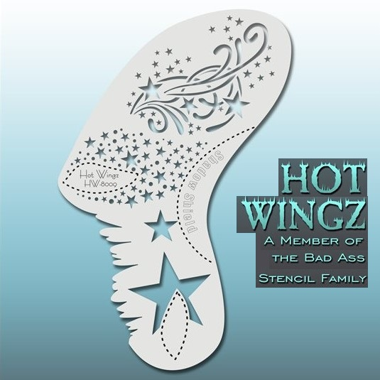 Bad Ass Hot Wingz Face Painting Stencil HW8009 Blazin'