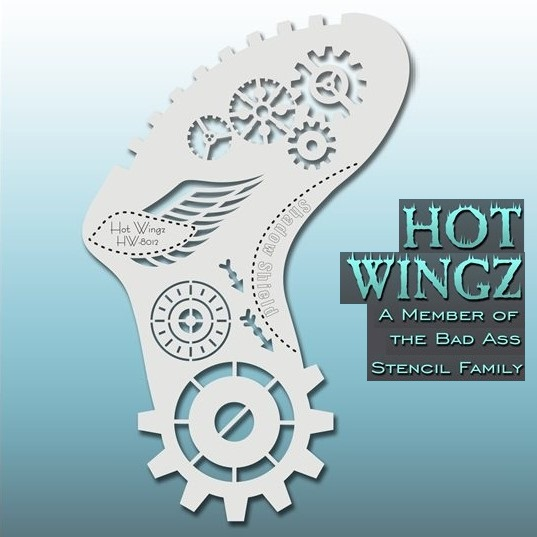 Bad Ass Hot Wingz Face Painting Stencil HW8012 Steamy