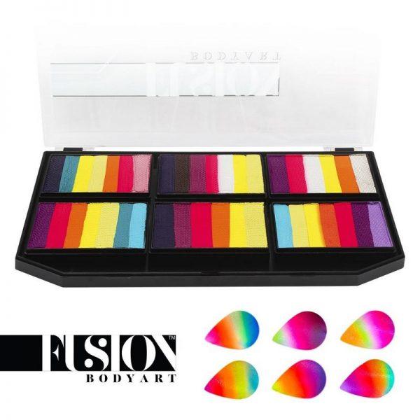 Fusion Split-cake Palette (6x large split-cakes - 25g each) - Leanne's Vivid Rainbow Petal Palette
