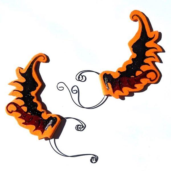 Orange Dragon-wing Ear-wings (1 pair)