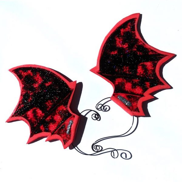 Red Bat-wing or Dragon-wing Ear-wings (1 pair)