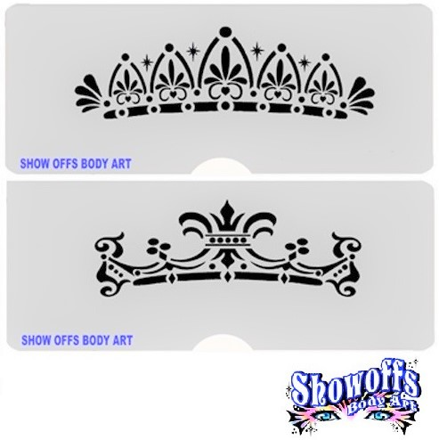 ShowOffs Body Art StencilEyes Face Painting Stencil - Prince and Princess Crowns