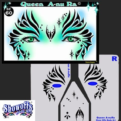ShowOffs Body Art StencilEyes Face Painting Stencil - Queen A-nu Ra - small