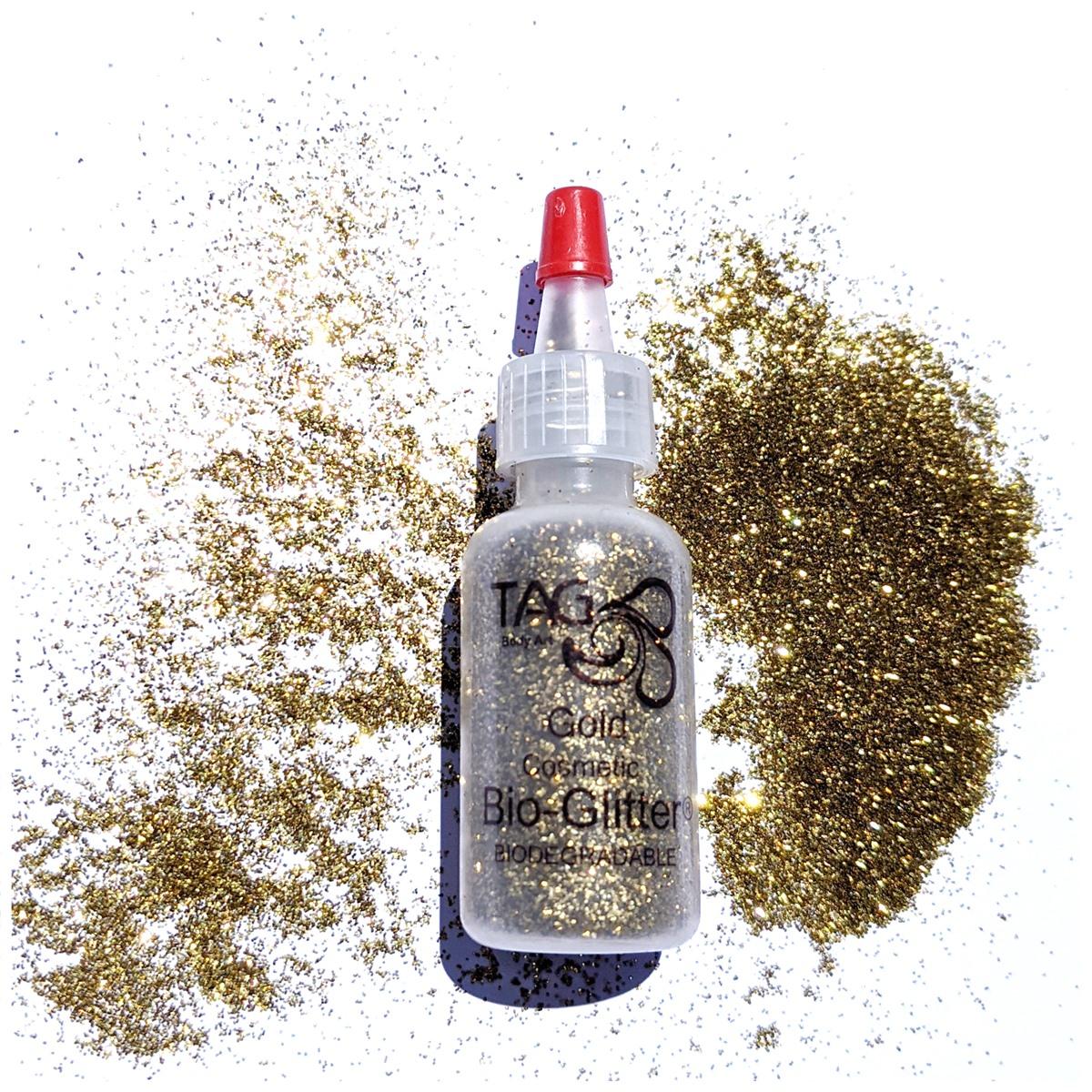 TAG Fine Cosmetic BIO-Glitter 15ml Puffer Bottle – Gold