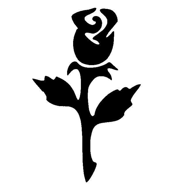 Glitter Tattoo Stencil - Rose bud