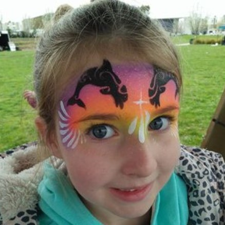 Diva Face Painting Stencil - Dolphin Swirl