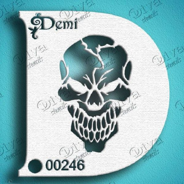 Diva Scary Skull Face Painting Stencil