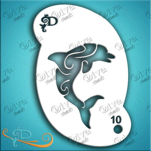 Diva Dolphin Swirl Face Painting Stencil