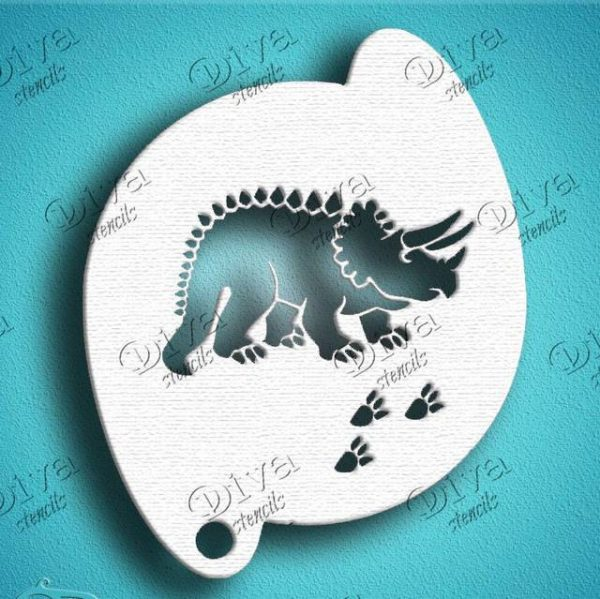 Diva Triceratops Face Painting Stencil