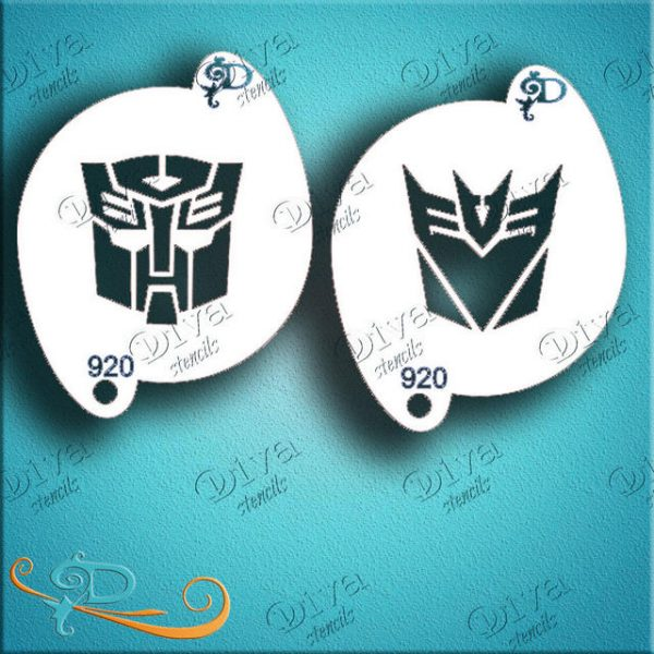 #3 Diva Transformers Face Painting Stencil