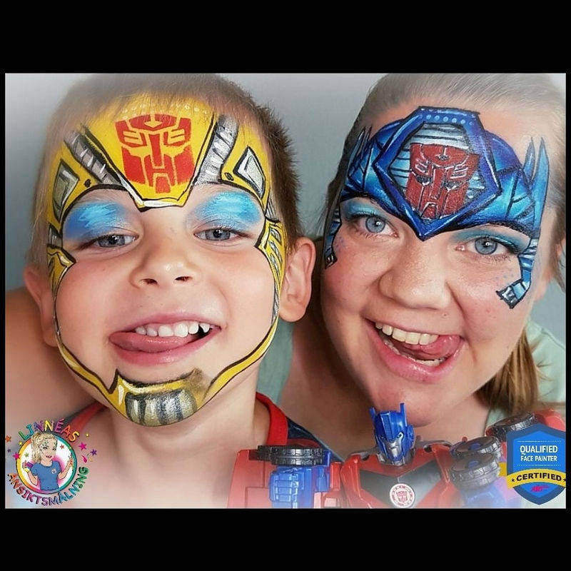 Transformers face painting design by Linnea Onnerby Novak using Diva stencil