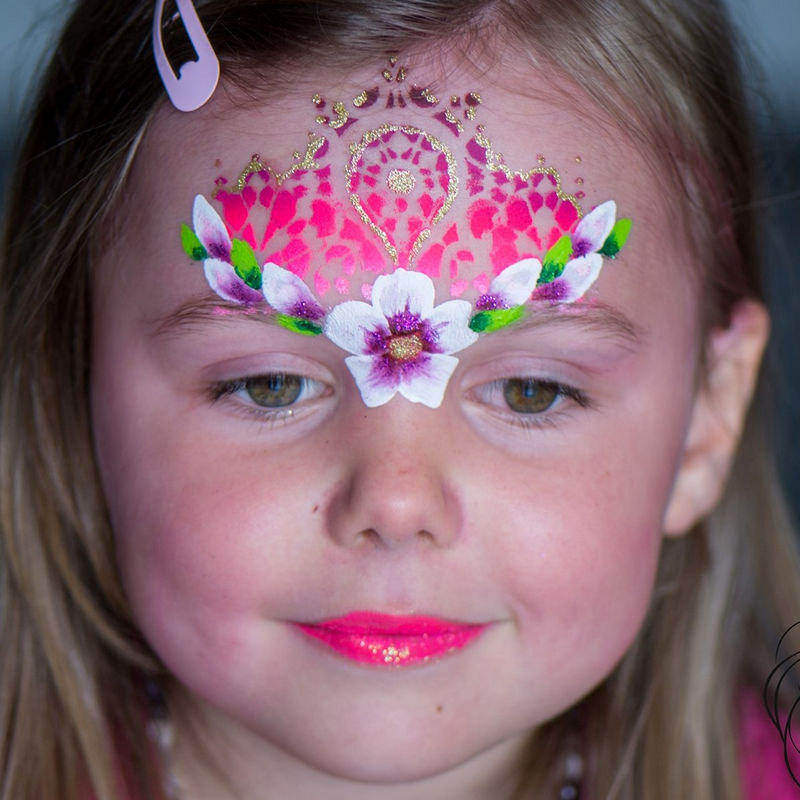Lace face painting design by Rosita Frank using Diva stencil