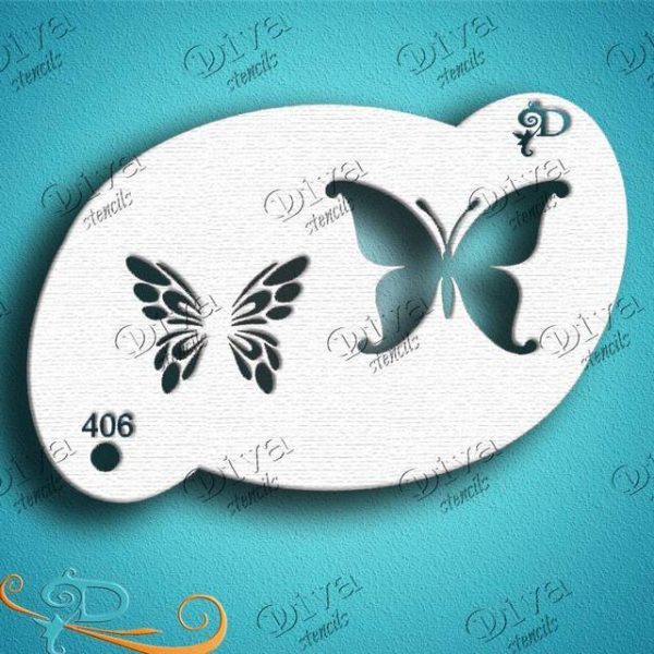 Diva Two-step Butterfly Face Painting Stencil