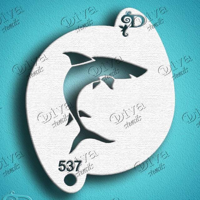 Diva Shark Face Painting Stencil