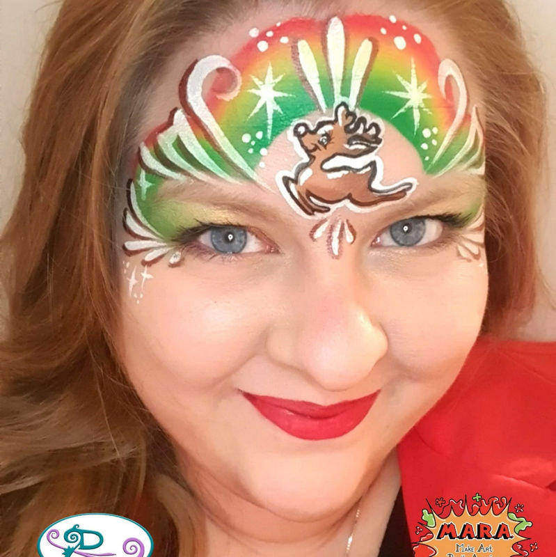 Rudolf face painting design by Mara Zegers using Diva stencil