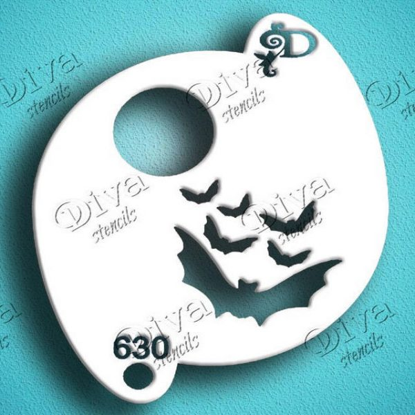 Diva Bats and Moon Face Painting Stencil