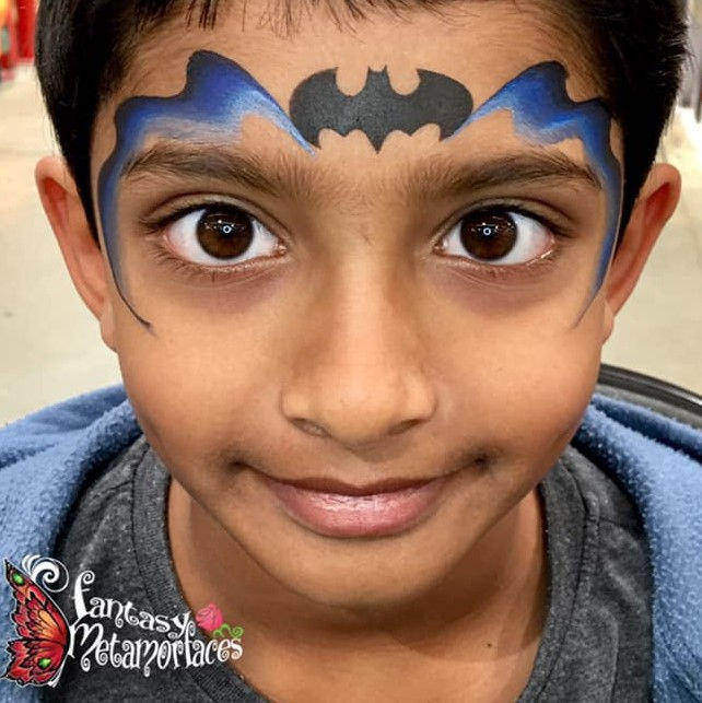 Batman face painting design by Elaine Goh using Diva stencil