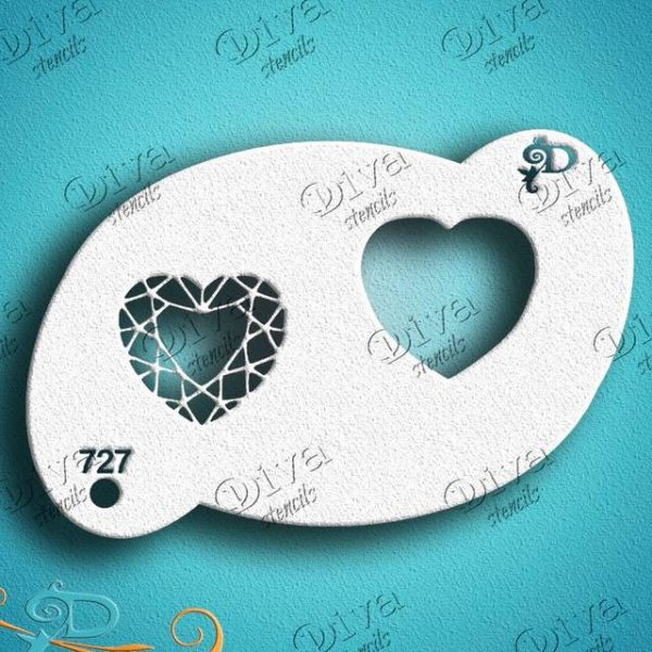 Diva Heart Gems Face Painting Stencil