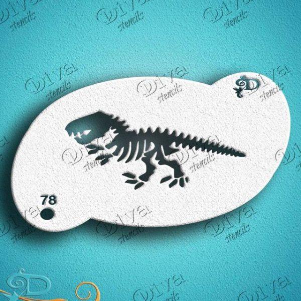 Diva Dinosaur Skeleton Face Painting Stencil