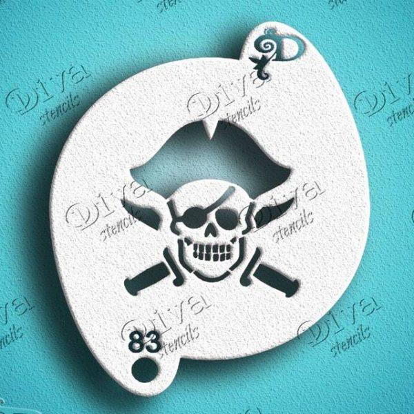 Diva Jolly Roger Skull with Swords Face Painting Stencil