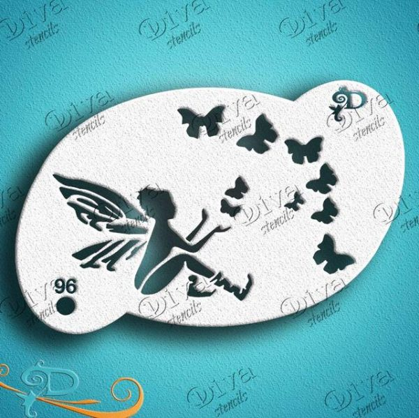 #96 Diva Fairy and Butterfly Friends Face Painting Stencil
