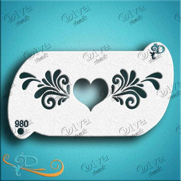 Diva Heart Centrepiece Face Painting Stencil