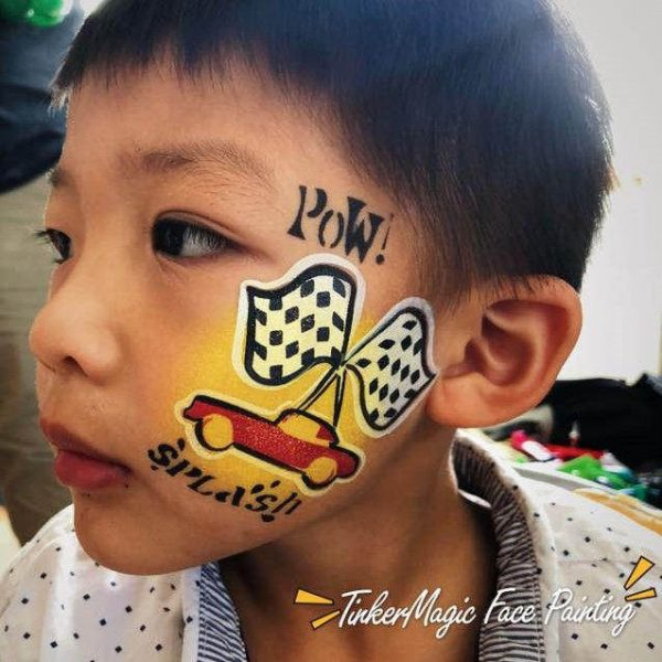 Car face painting design by Nancy Wu using Diva stencil