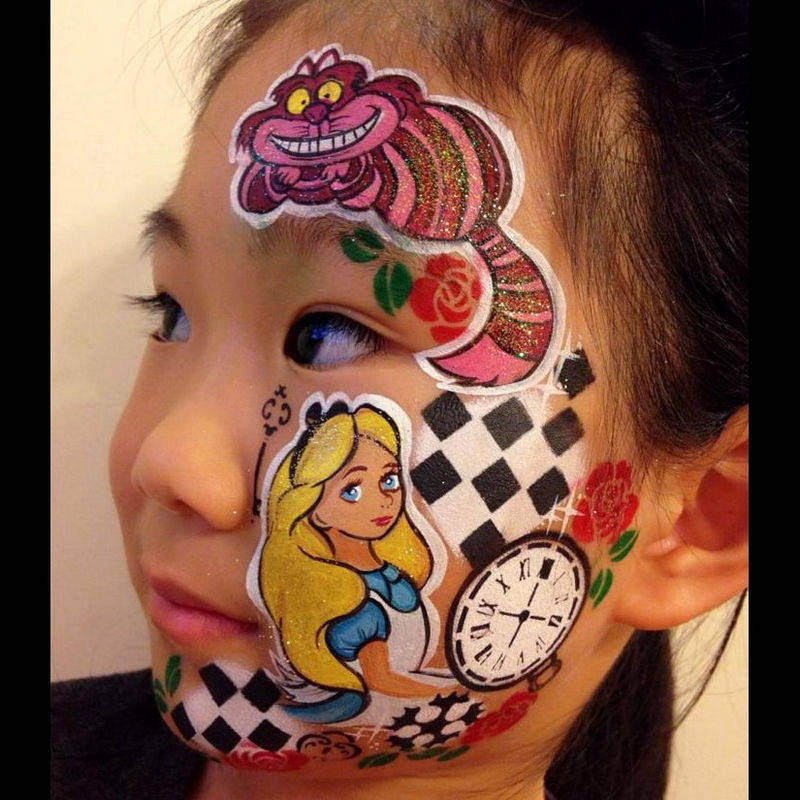 Alice in Wonderland face painting by Nancy Wu using Diva stencil